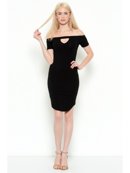Off Shoulder Front Keyhole Dress