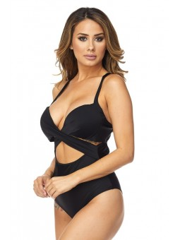 Solid Color Bodysuit with Middle and Side Cut Outs, V Neckline and Back Cut Out