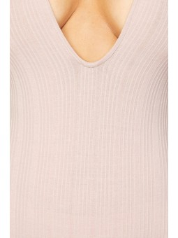 Ribbed Knit Short Sleeve Bodysuit with Low Neckline