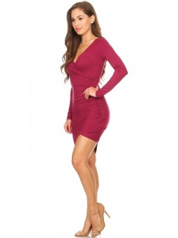 Solid Jersey Knit Wrapped Body Con Dress - V-neckline