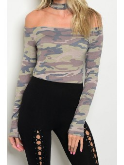 Choker Neckline Off Shoulder Long Sleeve Camo Bodysuit