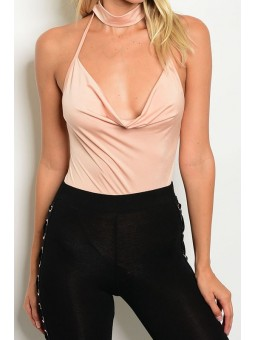Sleeveless Bodysuit With a Plunging V-Neck and Choker