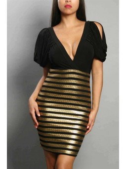 Plunging Neckline Black and Gold Dress