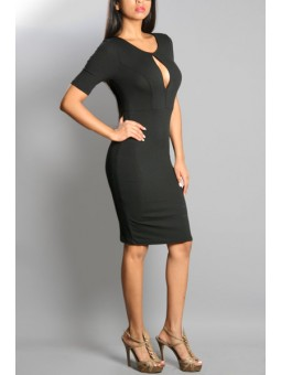 Solid Front Keyhole Dress