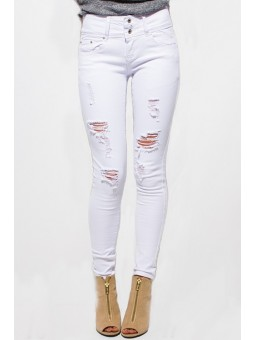 Fantasy Skinny White Denim Mid Rise Distressed Ripped Skinny Fit Ankle Jeans.