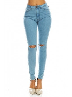 Women's High Rise Basic Slit Knee Denim Skinny Jeans