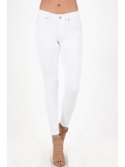Hammer White Skinny Pants. Fake Pocket In Soft Stretch Twill. Button Closure and Zip Fly.