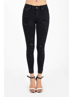 Hammer Black Destroyed Skinny Pants. Stylized With Shredded  Holes Going All The Way Down. In Stretch Twill Fabric And With Fake