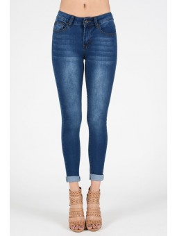 Hammer Skinny Jeans In Medium Blue. Soft Fading and Whiskering. Can Stylize It With Folded Hem-Roll-Up Or Down Style. 5-Pocket S