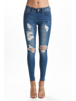 Hammer Destroyed Skinny Jeans. Soft Shreddings In Medium Blue Wash Soft Fading With Whiskering.