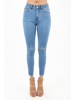 High Rise Ankle Skinny Jeans Medium Blue Wash Color With Clean Knee Cut Details  Ankle Length  With Raw Edged Hem Hugging Stretc