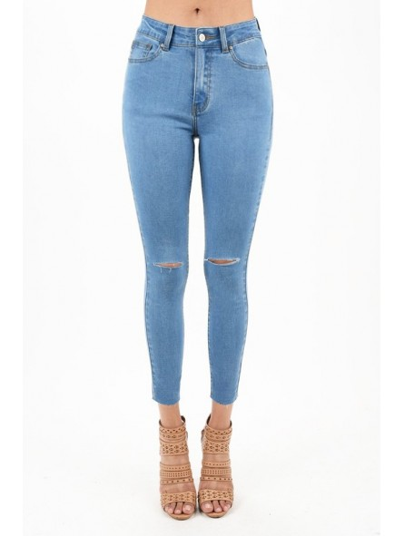 50a1d67562e High Rise Ankle Skinny Jeans Medium Blue Wash Color With Clean Knee Cut  Details Ankle Length