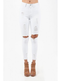 Hammer Destroyed High-Waist Jeans. Ankle Skinny Style With Shredded  And Big Holes In Very Stretch  And Comfortable Fabric.