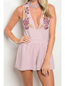 Sleeveless Mock Neck Romper With A Deep V And Floral Embroidered Detail
