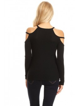 Open Shoulder Long Sleeve Top