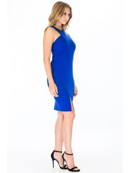 Stretch Knit Tank Dress Featuring a V-Neck and Back, a Bodycon Silhouette, with a Front Slit Detail.