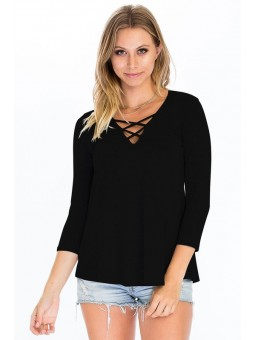 Stretch Modal Knit V-Neckline Top with Front Cage Detail. Super Soft!