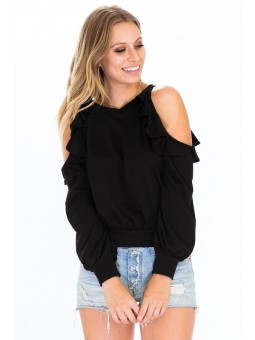French Terry Cold Shoulder Top with Ruffle Detail on Shoulder