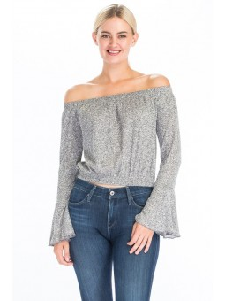 Marl off the Shoulder Top with Bell Sleeve. Elasticized Waist