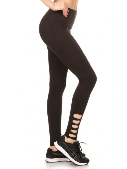 899f3dc0c18a06 Solid Sport Leggings Tights With Banded High Waist, Cut Out Detail With  Crossed Straps,