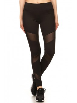 3 Front Asymmetrical Mesh Panels Solid Sport Leggings With Elastic Waistband And Overlock Stitching Detail.