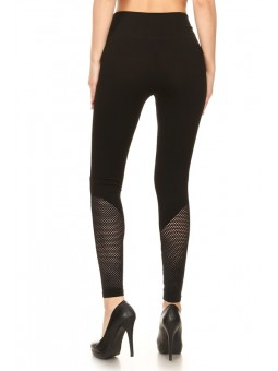 Solid Knit High Waisted Seamless Legging With Fishnet Leg Panels.