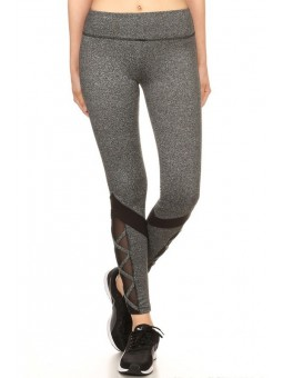 Color Block Knit Active Leggings Sports Pants With Mesh Contrast , Crossed  Strap Accent, Elastic Waistband, And Overlock Stitch