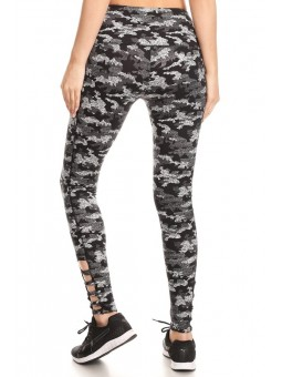 Soft Activewear Camo Print Basic Full Length Leggings, Skinny Fit With Wide Waistband And Ankle Cutout Detail Criss Cross.
