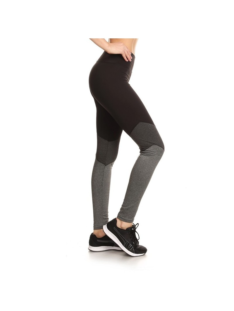 Three Tone Color Block Workout Leggings In Fitted Style With Banded Elastic Waist & Contrast Leg Panels.