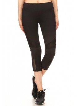 Solid High Waisted Cropped Workout Pants Leggings In A Fit Style, With An Elastic Waistband, Moto Pintuck, And Mesh Panels.