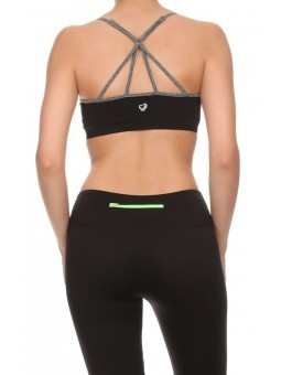 Solid Fitted Round Neck Sports Bra With Strappy Racerback. Four Way Stretch (Keeps Its Shape). Flat Seams (Reduces Chafing And S