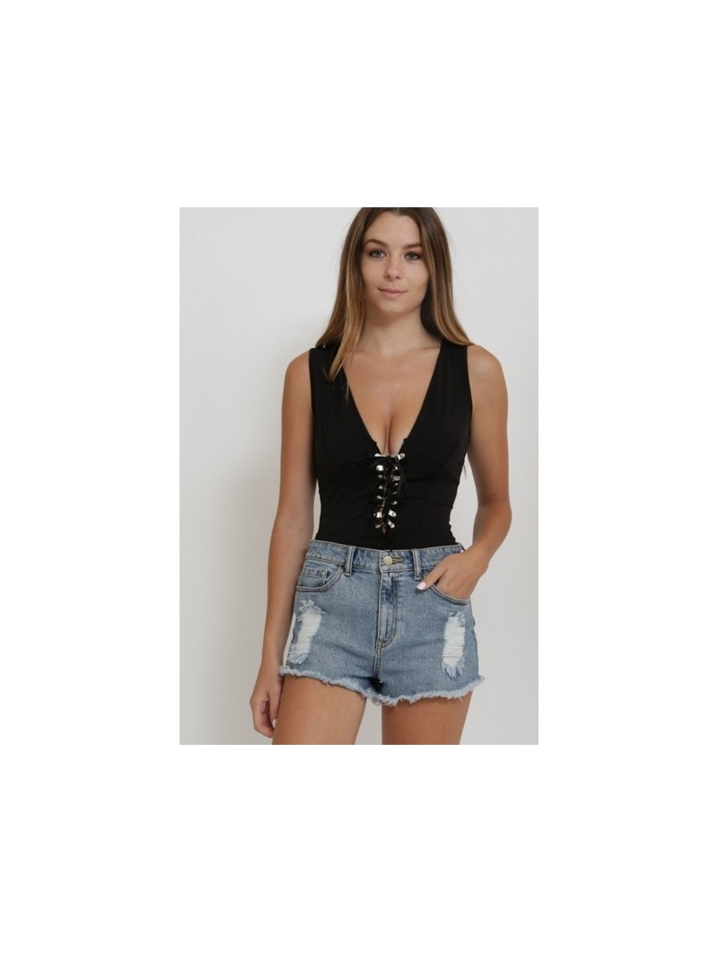 Tank Body Suit with Front Lace Detail