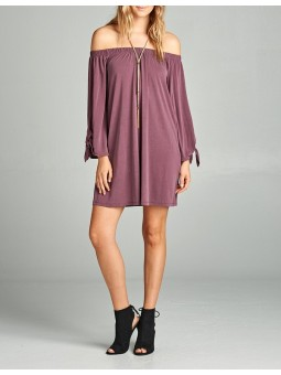 Solid Off Shoulder With Sleeve Tie