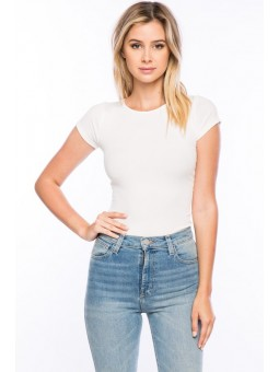 Timing-Junior Short Sleeve Ribbed Bodysuit With Lace Up Back