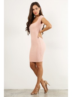 Solid Rib Dress Off Shoulder Square Neck Open Back With Lace Up Midi Knit Body-Con.