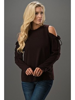 Ruffled Bow Tie Cold Shoulder Long Sleeve Top
