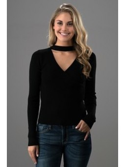 Choker Surplus Front Sweater Knit Top