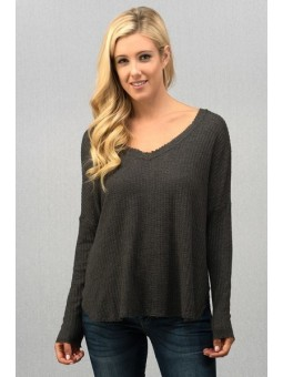Brushed Hacci Thermal V Neck Long Sleeve Basic Top