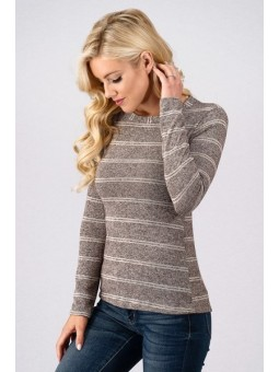 Brushed Stripe Long Sleeve Soft Jersey Crew