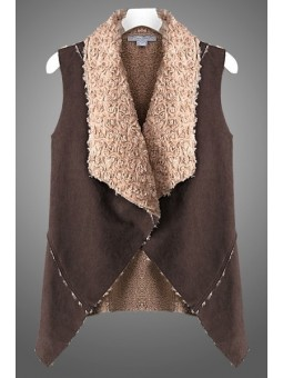 Suede Body Fur Detail Inside Vest