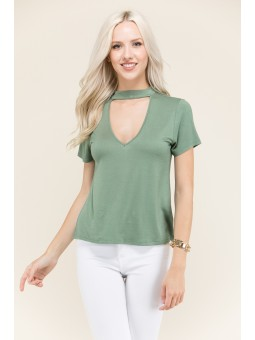 Choker Neck Relax Short Sleeeve Top