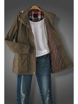 Long Sleeve Padded Anorak Jacket with Hoodie and Pockets. Plaid Flannel trim in Hoodie