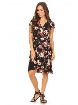 Short Sleeve Knee Length Wrap Dress, Floral Print With A V-Neckline, Waist Tie And Tulip Hem.