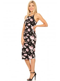 Floral Printed, Sleeveless Midi Dress In A Bodycon Fit, With A Round Neck, Spaghetti Straps, And Racerback.