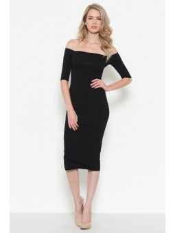 Three Quarters Sleeve Off Shoulder Midi Dress