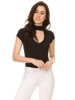 Solid Short Sleeve Bodysuit In A Fitted Style, With A Mock Neck, And Keyhole Cutout.