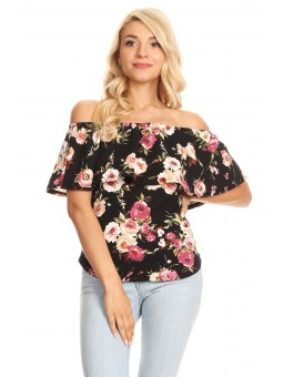 Floral Printed Off Shoulder Flounce Top With Elastic Neckline And Rounded Hem.