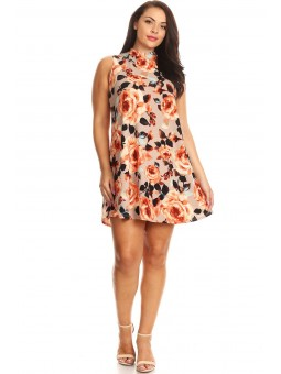 Floral Mini Dress, Sleeveless With A Mock Neck And A Line Silhouette.
