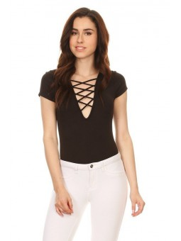Solid, Short Sleeved Bodysuit In A Fitted Style, With A Crossed Deep V-Neck And Crossed Back.