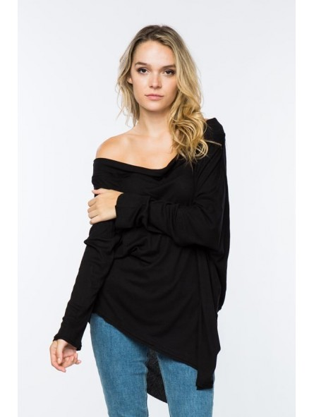 Coverstitched - Young Contemporary Oversized Off-The-Shoulder Thermal Tunic With Asymmetrical Hem.